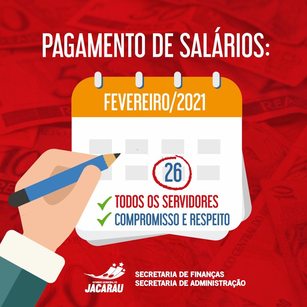 Governo Municipal de Jacaraú paga salários do mês de fevereiro nesta sexta-feira (26).