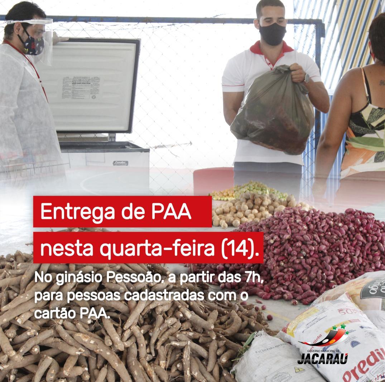 Secretaria de Assistência Social, comunica a entrega de PAA, nesta quarta-feira (14).