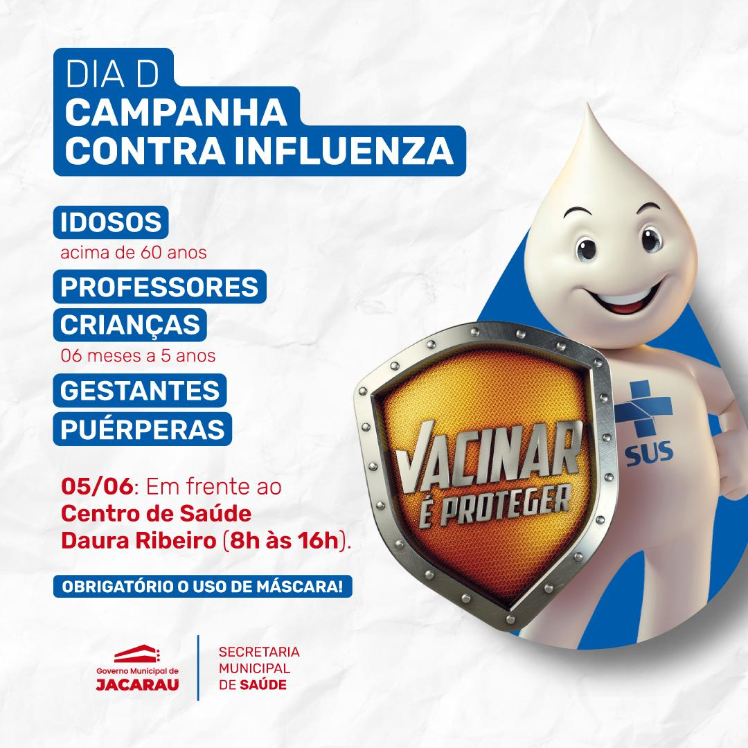 Dia D – campanha contra Influenza será realizada neste sábado (05/06).