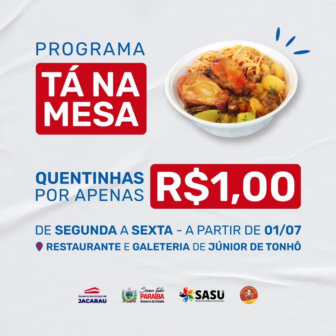 Em Jacaraú, projeto 'Tá na Mesa' vai beneficiar famílias em situação de vulnerabilidade.