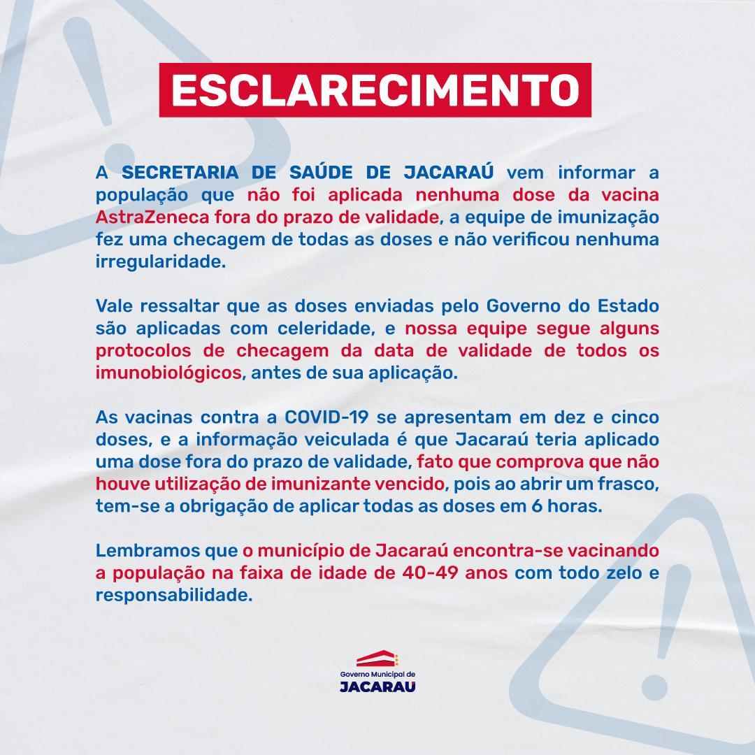 Prefeitura de Jacaraú não aplicou vacinas vencidas.