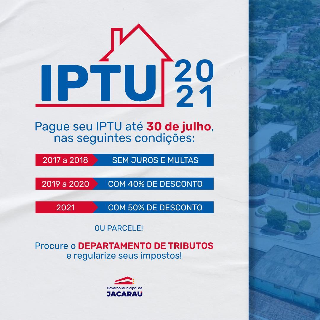 IPTU 2021 – condições de pagamento.
