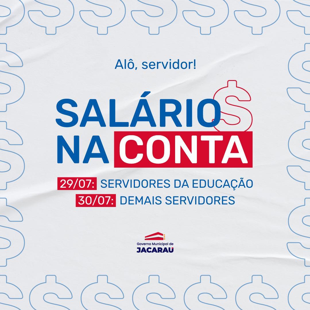 Prefeitura de Jacaraú paga salários de julho nesta quinta (29) e sexta-feira (30).