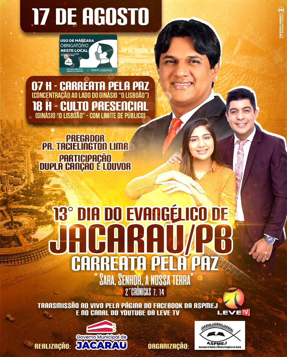 """Em Jacaraú, será comemorado o 13º Dia do Evangélico com o tema: """"Sara, Senhor, a nossa terra""""."""