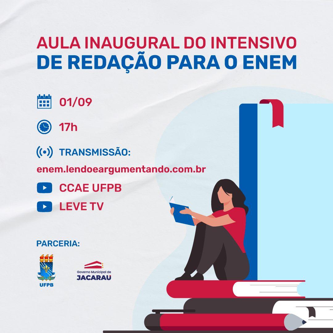 Governo de Jacaraú faz parceria para aula inaugural de redação para o ENEM 2021.
