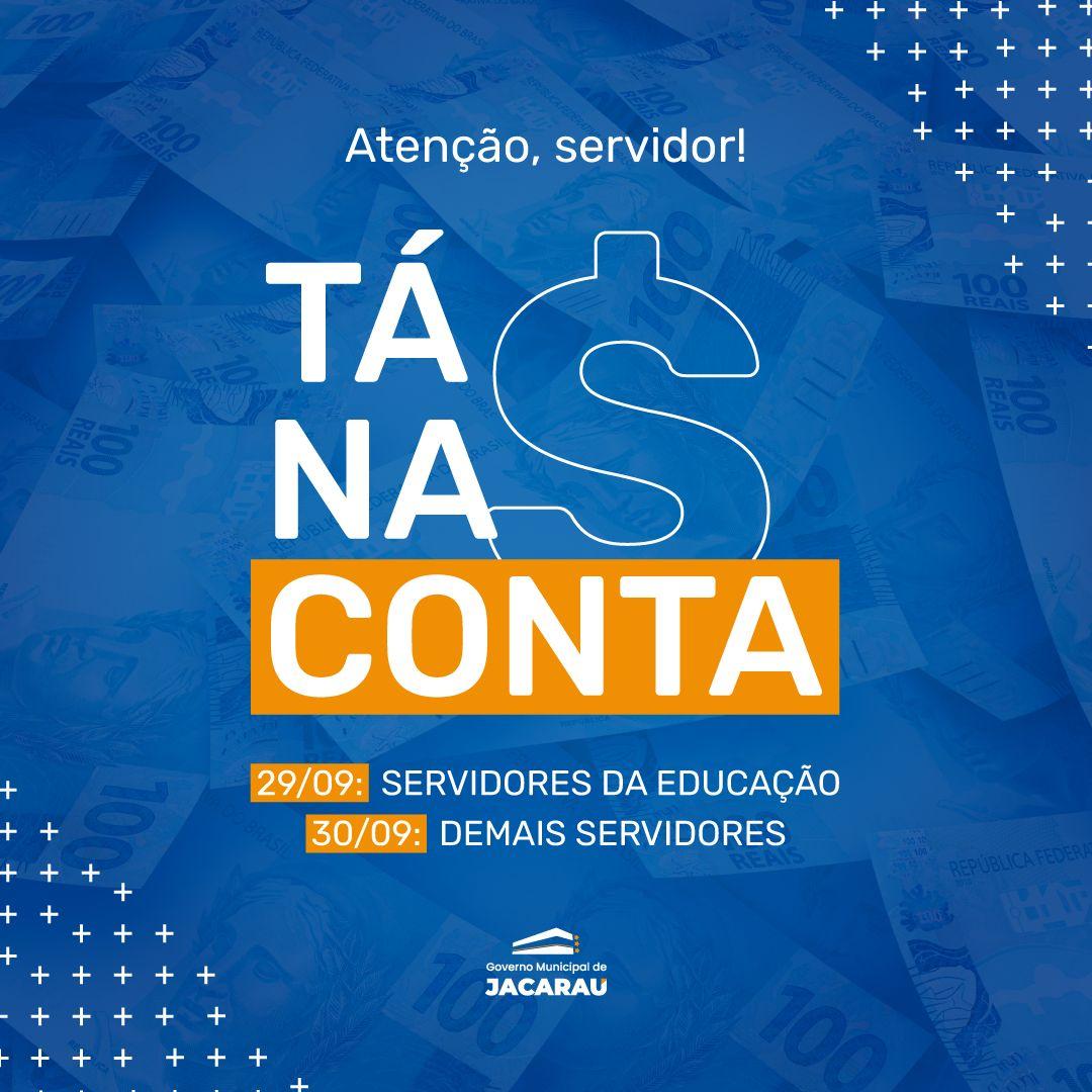 Jacaraú paga salários de servidores nesta quarta (29) e quinta-feira (30).