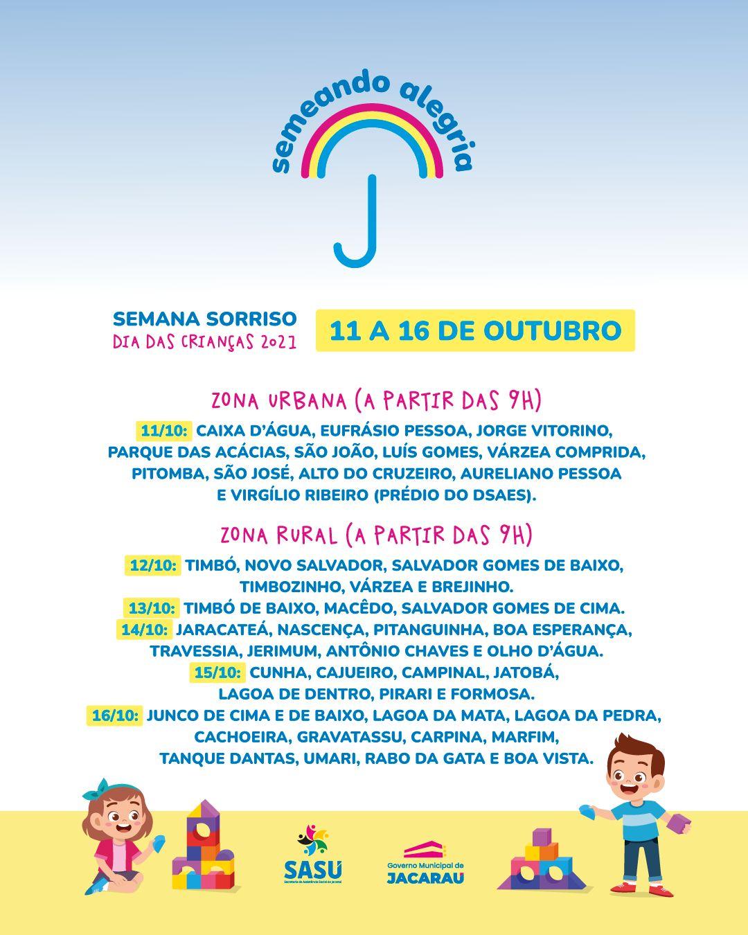 Secretaria de assistência social vai comemorar o dia das crianças com uma semana itinerante.